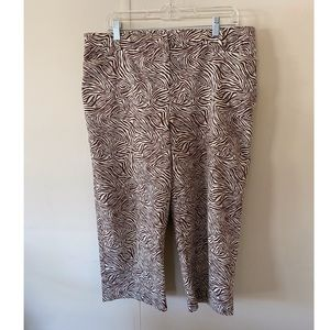 Briggs New York Brown Zebra Pattern Pants Size 14